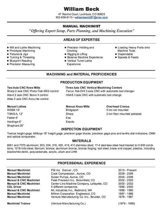 New CNC Machinist Resume Samples -    resumesdesign new - trademark attorney sample resume