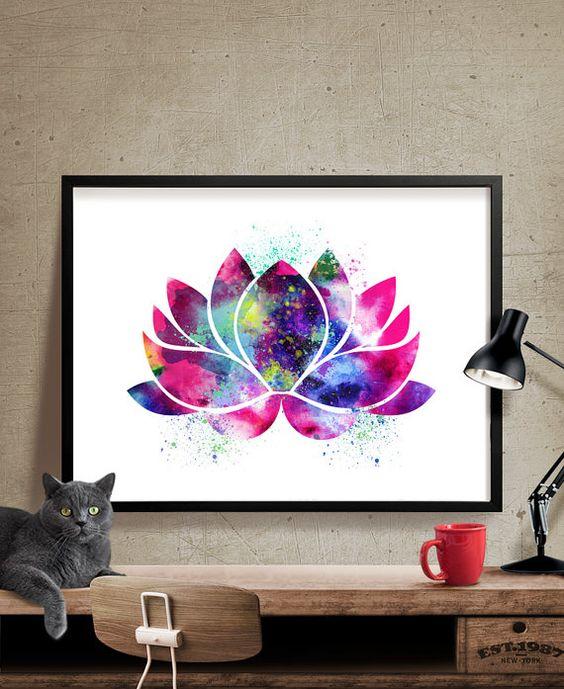 Lotus Flower Art, Yoga Artwork, Lotus Flower Decor, Watercolor Yoga Art, Buddha Art,Wall Art Print Watercolor, Yoga Poster (36)