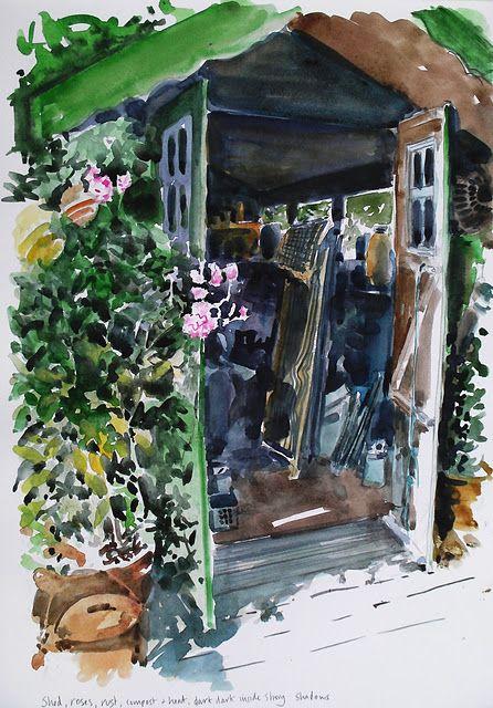 Garden Love! a watercolor by Sarah Wimperis