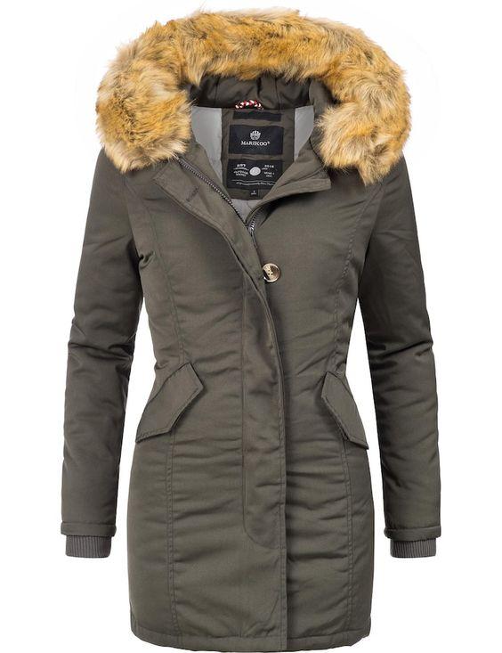 Damen Wintermantel Parka Outwear Winterjacke Kurzparka Kunstfell Kapuze Warm DE