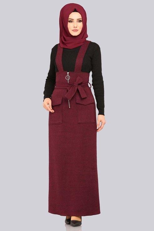 Modaselvim Elbise Halka Fermuarli Jile 5458mp186 Bordo The Dress Basortusu Modasi Moda Stilleri