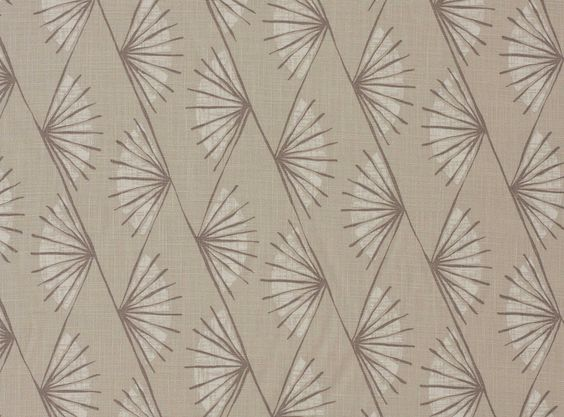A stylised fan design on solid coloured backgrounds printed on a finely textured linen viscose weave. Contemporary Printed Fabric Upholstery Fabrics, Prints, Drapes & Wallcoverings