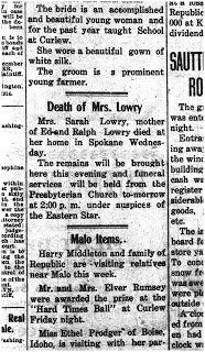 Sunday's Obituary - Sarah Lowry (1858 - 1915)