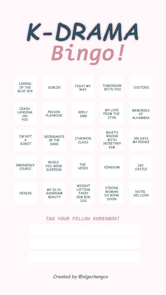 Kdrama Bingo Instagram Stories In 2020 Instagram Story Kdrama