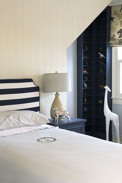 pefect little boys room   classic and preppy   horizontal striped headboard   simple monogram   navy built-ins