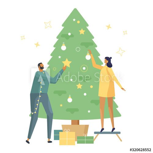 Character Christmas Tree Ideas 2020 Characters collection. Young beautiful couple decorate Christmas