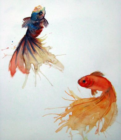 Goldfish watercolor koi and koi on pinterest for Fish out of water watercolor