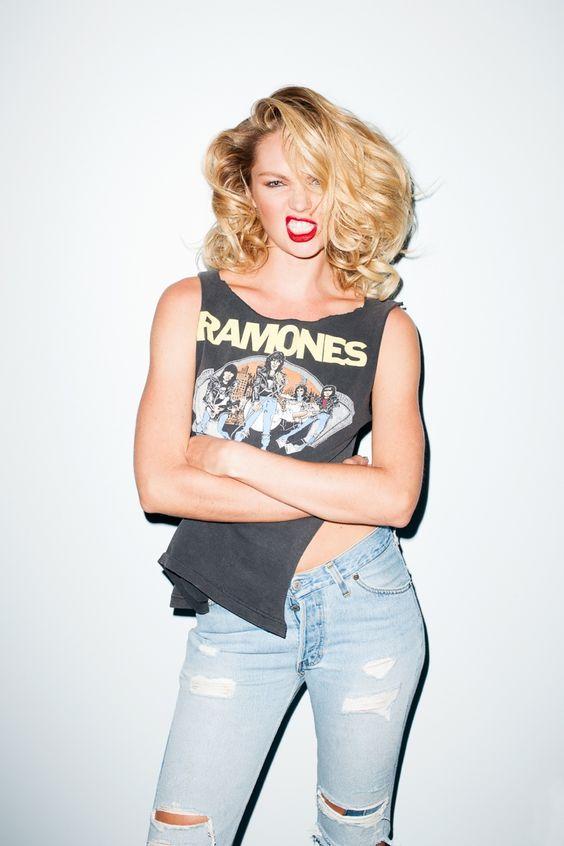 Candice Swanepoel Rocks T-Shirt & Denim in Terry Richardson Photos