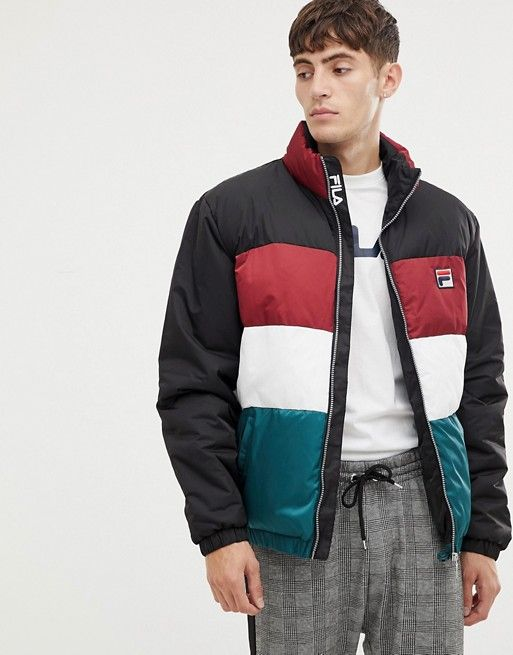 Fila White Line Ledger Puffer Jacket With Sleeve Stripe In