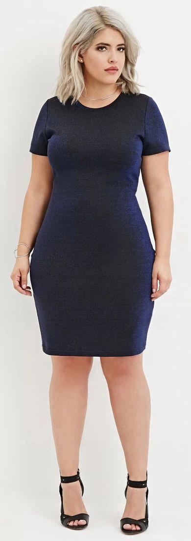 Plus Size Metallic Knit Dress