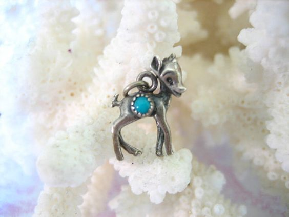Vintage Sterling Silver DEER w Turquoise Charm by charmingellie, $14.99