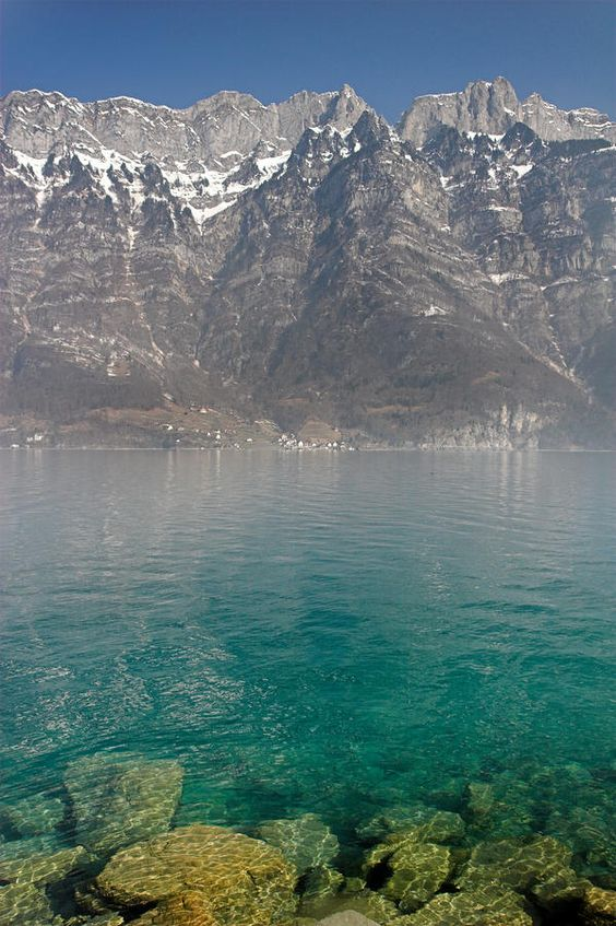 Blue Swiss Lagoon and the Alps - Switzerland: