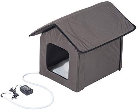 Pawhut Small Indoor Outdoor Portable Water Resistant Heated Cat House Brown Pet Supplies Outdoor Cat House Heated Cat House Outdoor Cats