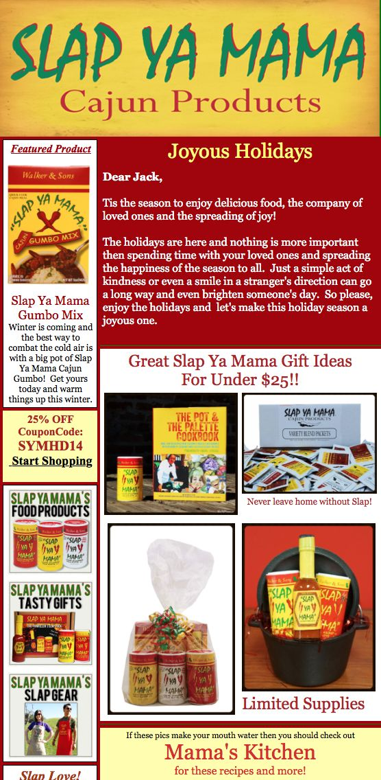 Slap Ya Mama Holiday Newsletter  Coupon Get  Off Any Online