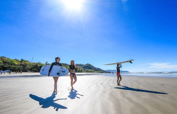 Walking out for our morning surf on beautiful Playa Hermosa, Santa Teresa, Costa Rica... Vajra Sol Yoga Adventures