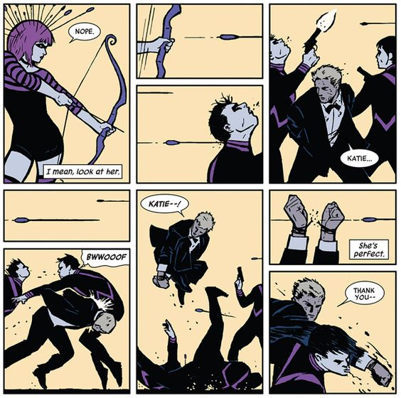 Action from Hawkeye #2 by David Aja (artist) and Matt Fraction (writer). Kate Bishop and Clint Barton flee the theatrical bad guys.: