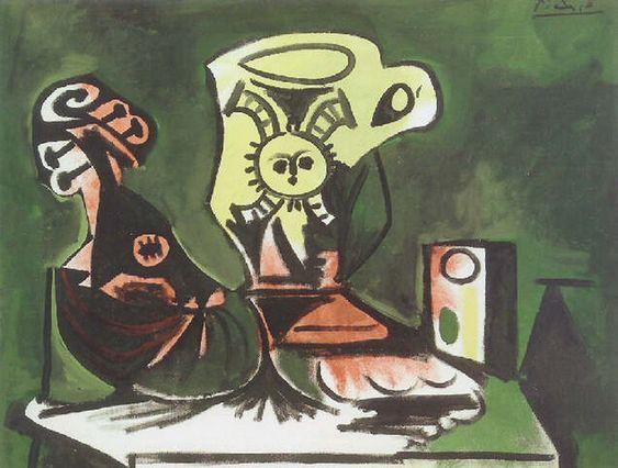 """Pablo Picasso - """"Mandolin, glass jug and I"""", 1959"""