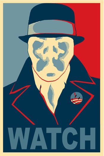 Completely ironic, considering Rorschach despises liberals, & would completely despise being associated with Marxist propaganda like an Obama election poster.