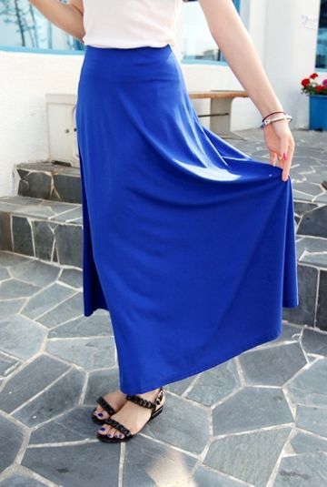 Cobalt blue long skirt  #KOODING.com #blue #long #skirt