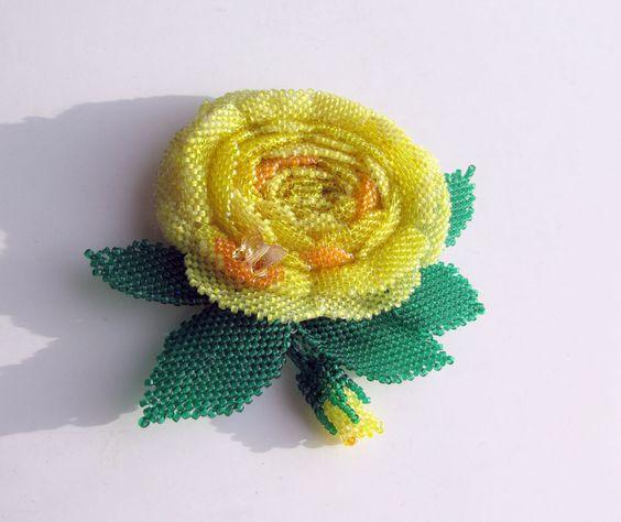 Жёлтая роза   biser.info - всё о бисере и бисерном творчестве