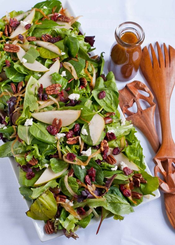 Caramelized Onion, Pear, and Goat Cheese Salad with Maple Vinaigrette ...
