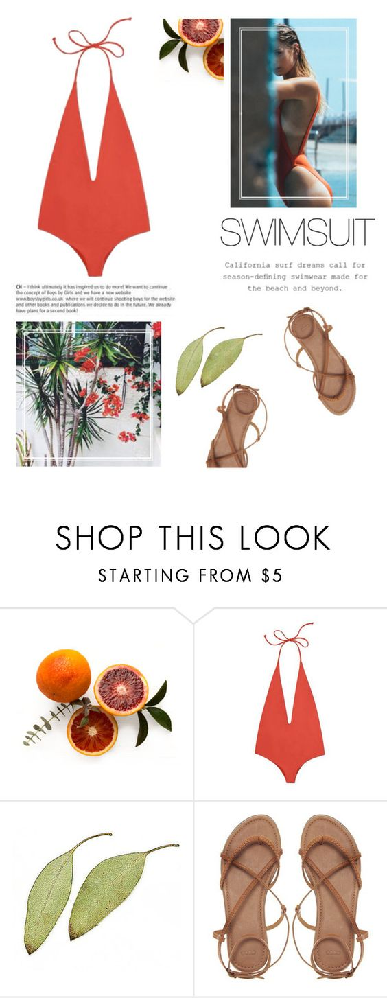 """Summer's nearly there"" by kelly-m-o ❤ liked on Polyvore featuring Mikoh, ASOS, orange, sandals and onepieceswimsuit"