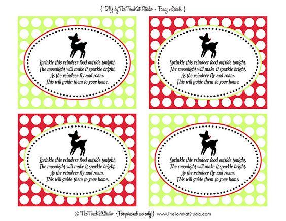 Free Printables Reindeer Food Tags Reindeer Food Label