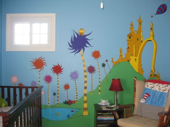 One fish two fish mural wall and two fish on pinterest for Dr seuss wall mural