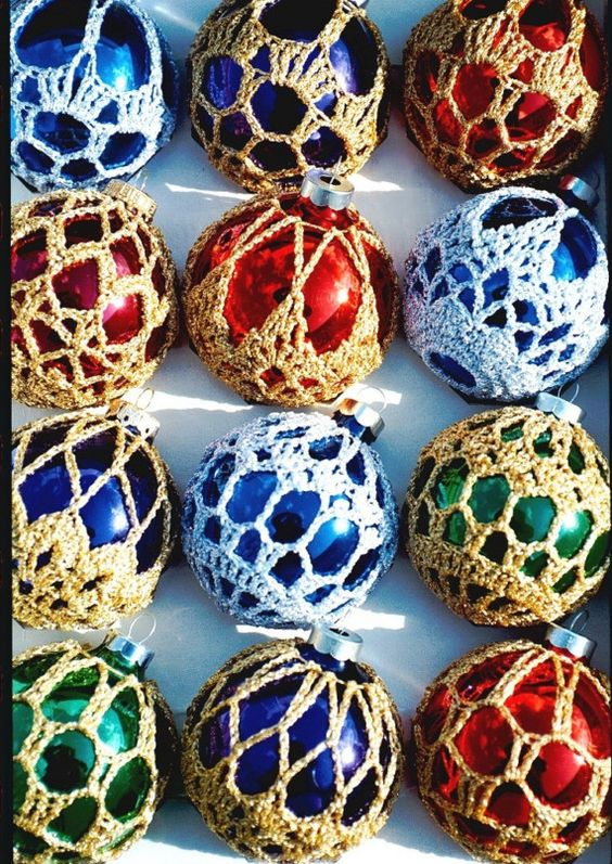 Crocheted Christmas Ornament Covers- Box of 6 Finished ...