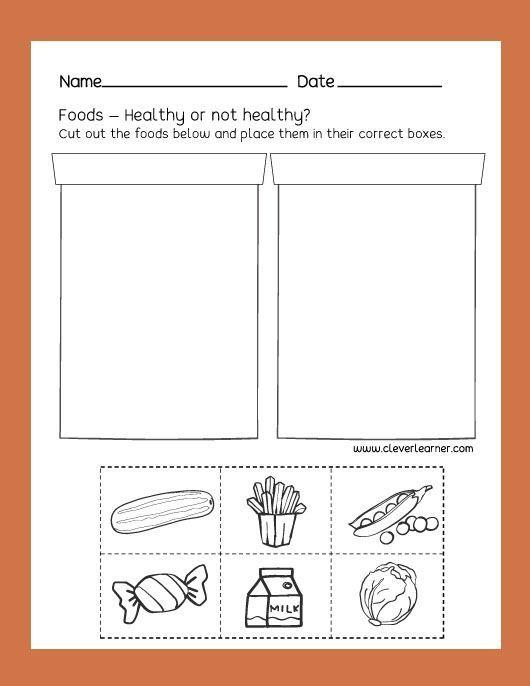Free Preschool Science Worksheets Healthy Unhealthy Foods