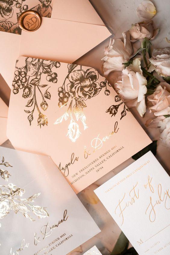 Elegant Blush Pink Pocket Wedding Invitaiton Suite Ideas With Gold Floral Patte Handmade Wedding Invitations Wedding Invitations Uk Glitter Wedding Invitations