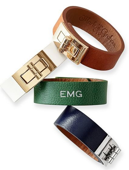 colored leather turnlock bracelets