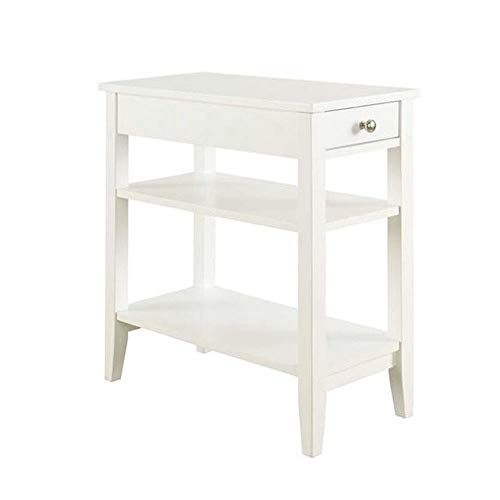 Chairside End Table Narrow With Drawer Chest 2 Shelves Sofa Couchside Tv Coffee Accent Table White Classic Fu Classic Furniture Living Room Bedroom Furniture