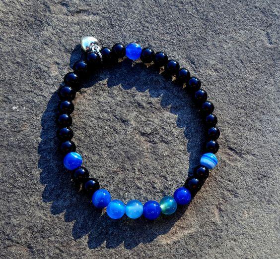 Bracelet Agate Bleu | Breloque Cœur | Cadeau | Femme | Amitié | Boho | Hippie…