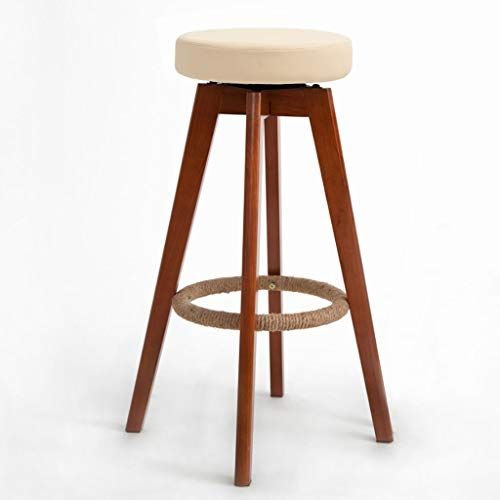 Hy Solid Wood Bar Personality High Stool Wooden High Elastic