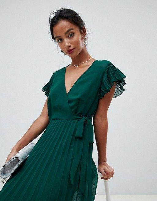 26++ Asos pleated maxi dress with flutter sleeve inspirations