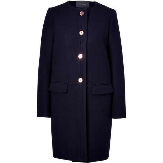 CEDRIC CHARLIER Navy Wool-Blend Coat ($1,195) ❤ liked on Polyvore