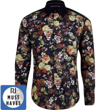 chemise life of tailor imprim fleuri noire manches longues chemises imprim es chemises. Black Bedroom Furniture Sets. Home Design Ideas