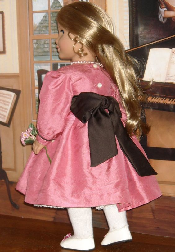 1850s Silk Dress with Petticoat for 18 by SugarloafDollClothes