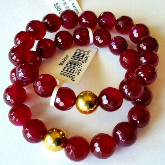 SOLD 2 GORGEOUS SEMI PRECIOUS RUBY AGATE BRACELETS Gorgeous faceted Ruby 8mm beads with gold plated brass beads. Looks great for day and evening looks. Perfect armcandy! shopjewelry  Jewelry