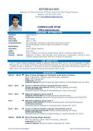 Cv Resume Sample For Fresh Graduate Of Office Administration Job Resume Job Resume Samples Job Resume Examples