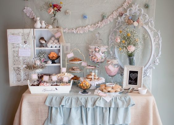 cupcake tables - shabby chic