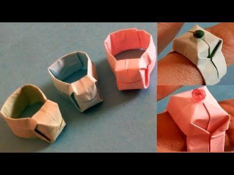 صنع أشياء بالورق طريقة عمل خاتم رائع من الورق الملون للبنات خطوة بخطوة Container Takeout Container