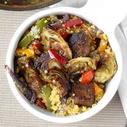 Vegetarian Spanish Paella-Style Quinoa with Oven-Roasted Artichoke Hearts