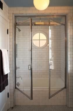 Double swing shower doors architect tim barber ltd interior design kristen panitch int dsgn - Swinging double doors interior ...
