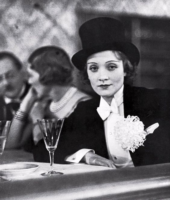 Marlene Dietrich wearing white tail and top hat at ball for foreign press, photo by Alfred Eisenstaedt, Berlin, Germany, 1929: