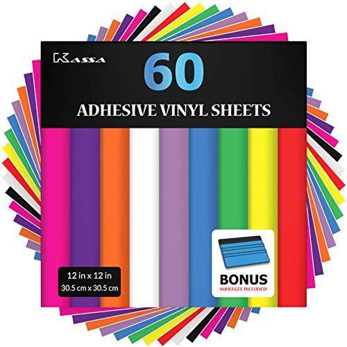 Kassa Permanent Vinyl Sheets Pack Of 60 12 X 12 Includes Bonus Squeegee Matte Glossy Assorted Colors In 2020 Adhesive Vinyl Sheets Vinyl Sheets Vinyl Paper