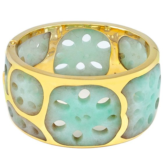 Tiffany & Co. Lotus Root Jade Gold Cuff by Angela Cummings | 1stdibs.com