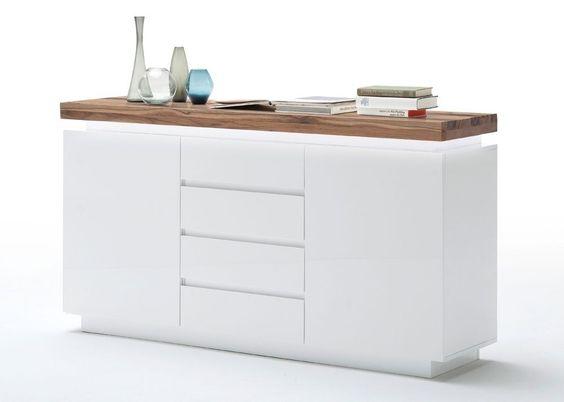Sideboard Romina Weiß Matt mit Eiche Massiv 8202. Buy now at https://www.moebel-wohnbar.de/sideboard-romina-mit-led-licht-dimmbar-weiss-matt-mit-eiche-massiv-8202.html