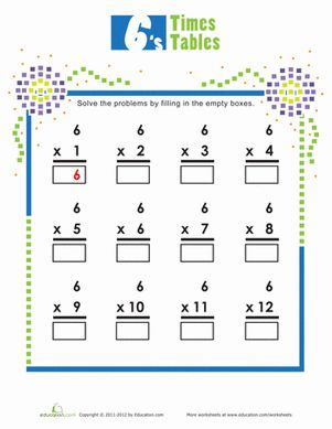 Times Tables: 6s | Pinterest | Children, Wells and Worksheets